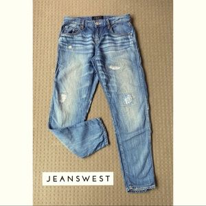 Jeanswest Blue Distressed Crop Boyfriend Denim Jeans Sz AU8